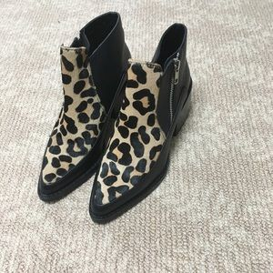Design lab bootie shoes with animal suede front